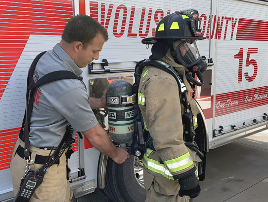Firefighters sport new air packs