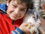 boy with baby goat