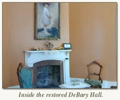 fireplace inside restored debary hall