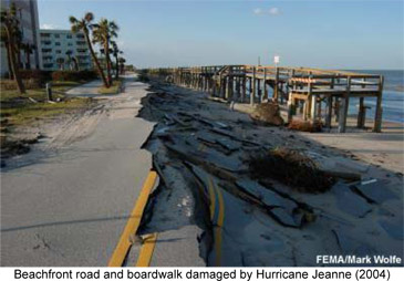 road and boardwalk damage by hurricane jeanne 2004