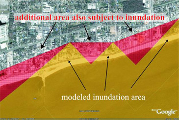 modeled inundation area
