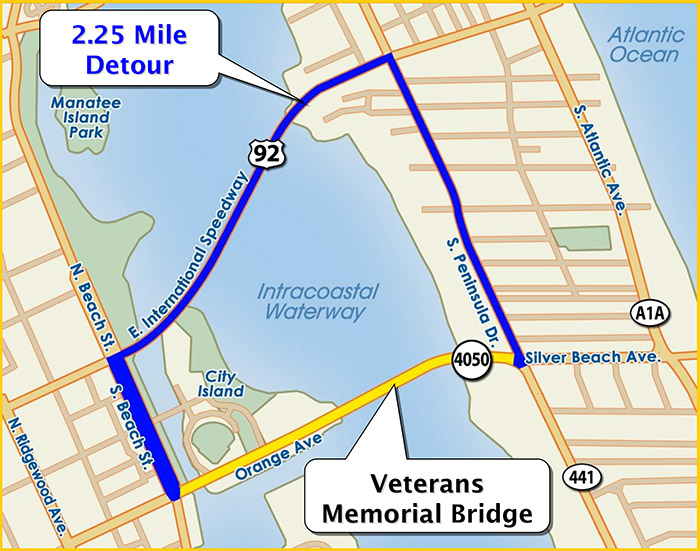 2.25 mile detour using beach street international speedway and pennisula