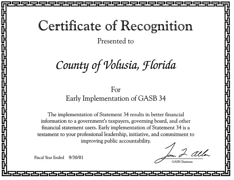 The County Of Volusia 2001 Cafr Comprehensive Annual Financial Report